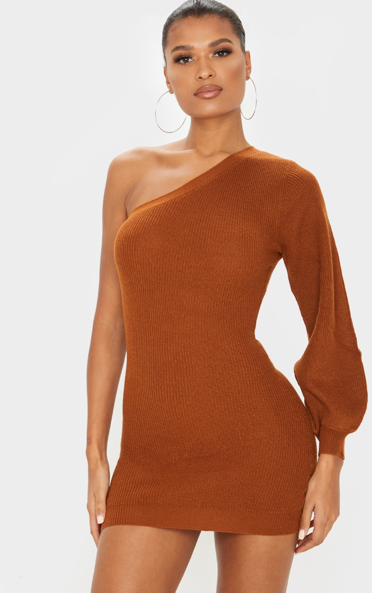 brown-knitted-one-shoulder-bodycon-dress by prettylittlething