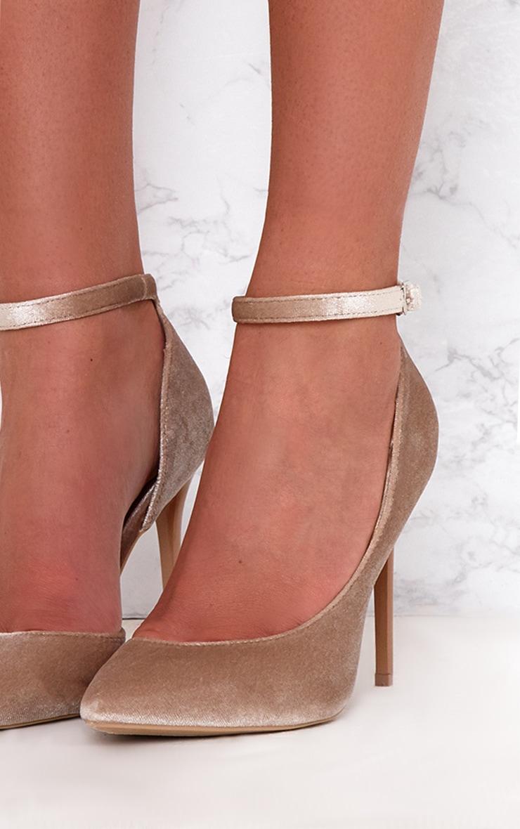 Beige Velvet Ankle Strap Pointy Heels 5