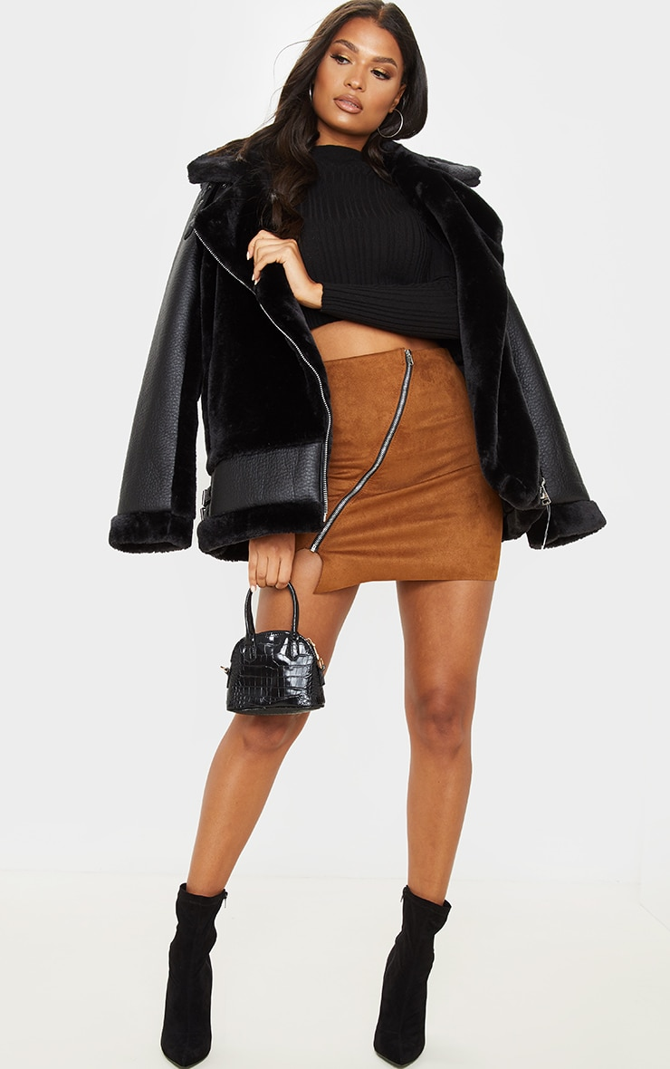 Brown Faux Suede Zip Detail A Line Skirt 5