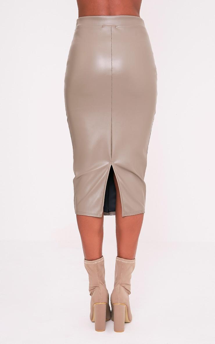 Eva Taupe Faux Leather Panel Midi Skirt 5