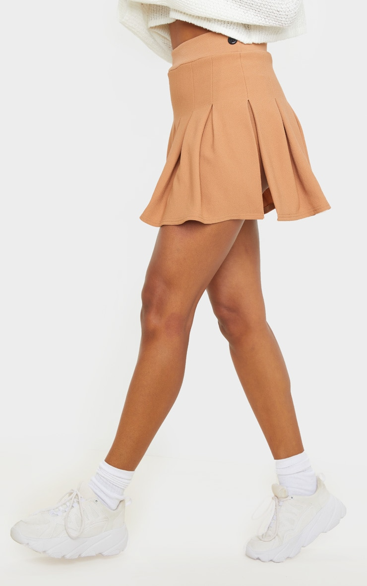 Camel Pleated Side Split Tennis Skirt 2