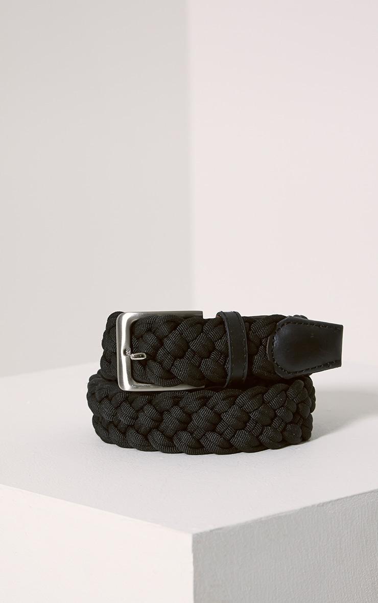 Hanne Black Plaited Woven Belt 2