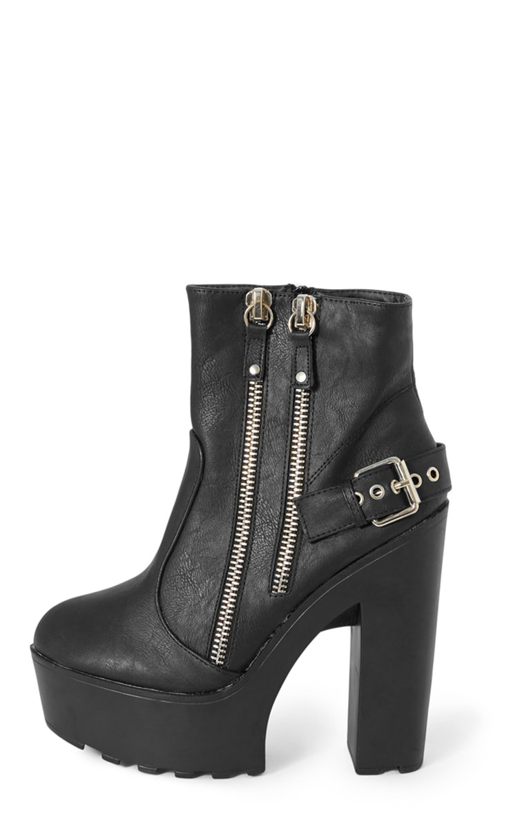 Sani Black Zip Up Cleated Sole Biker Boot 1
