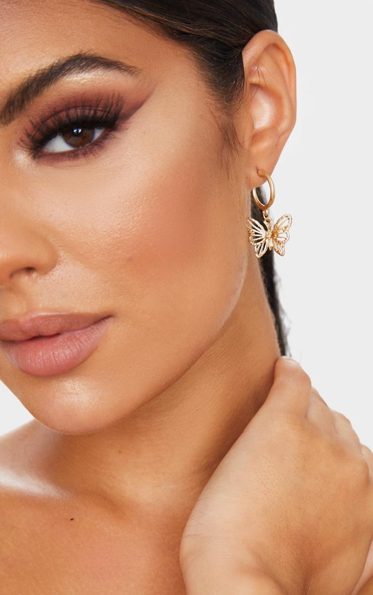 Gold Butterfly Hoop Drop Earrings 1