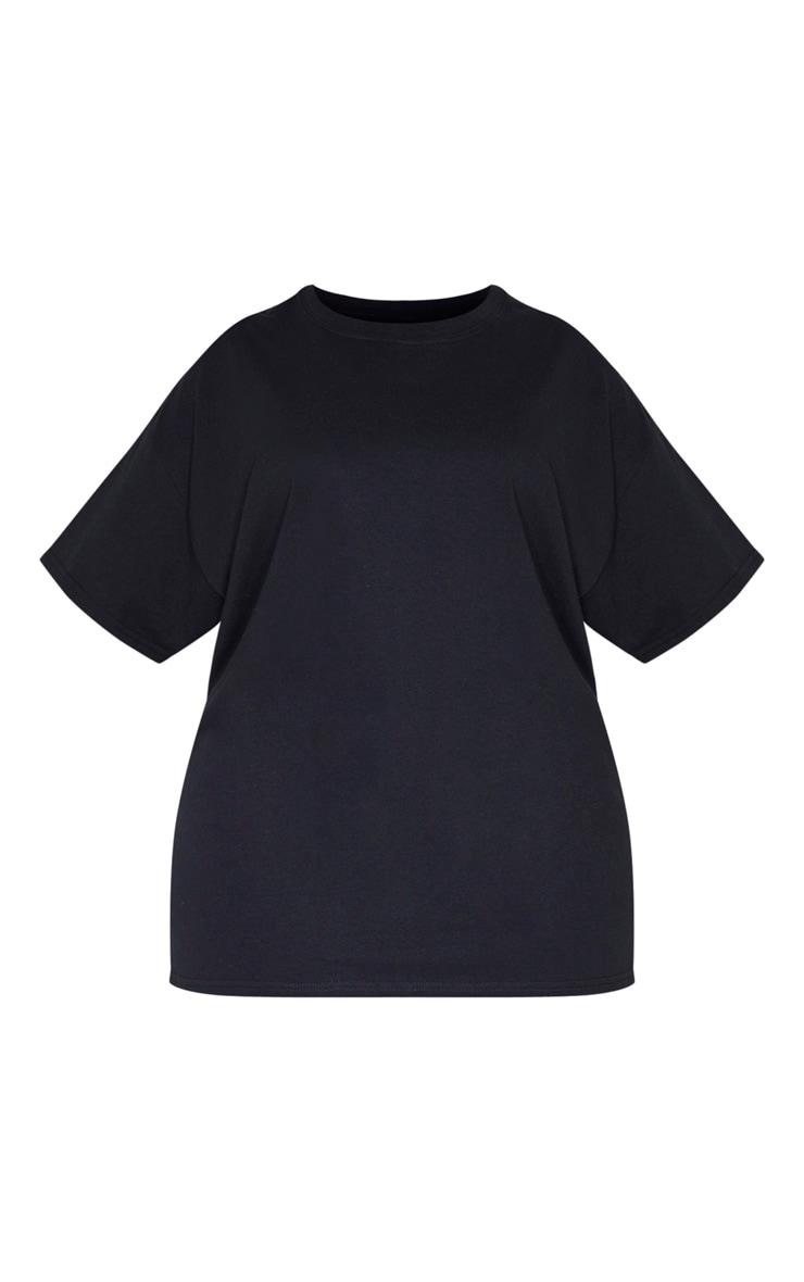 Plus Black Oversized Basic Bitch Slogan T Shirt 3