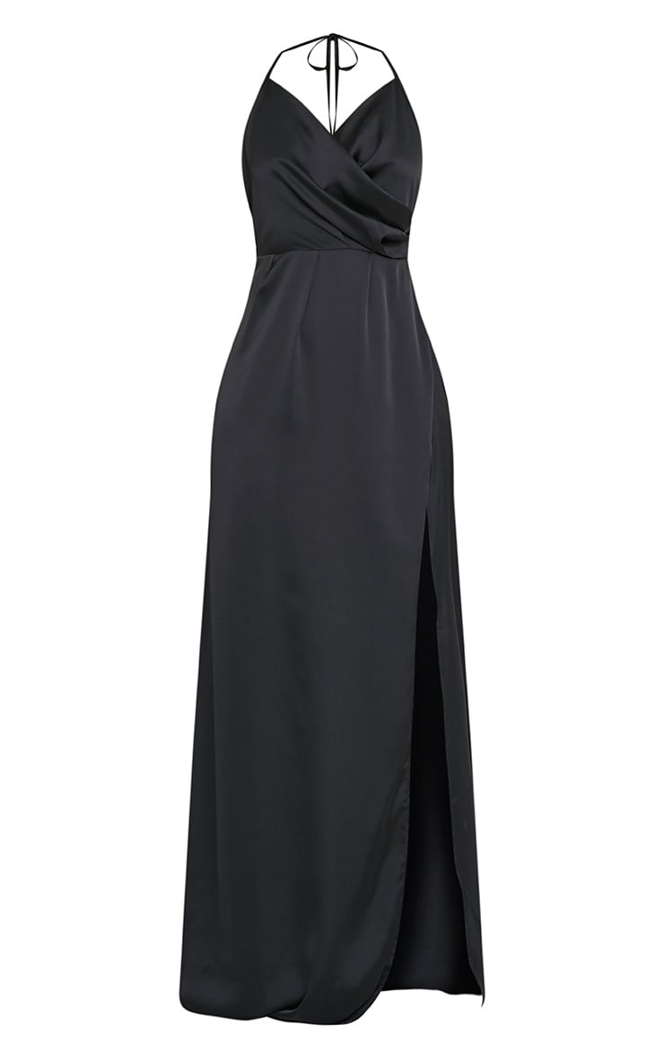 Lucie Black Silky Plunge Extreme Split Maxi Dress 3
