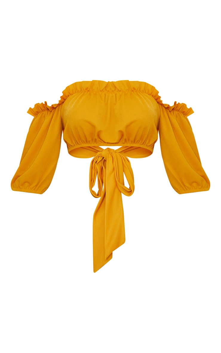 Mustard Crepe Bardot Tie Back Crop Top  3