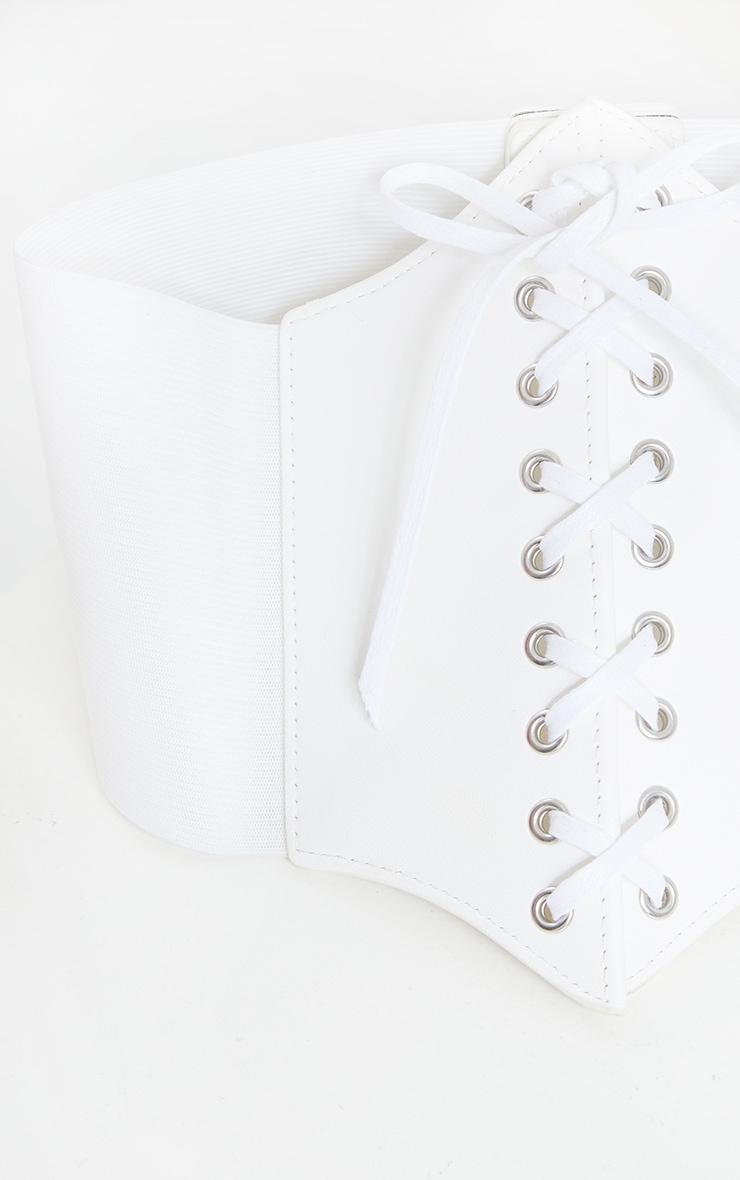 White PU Lace Up Corset Belt 2