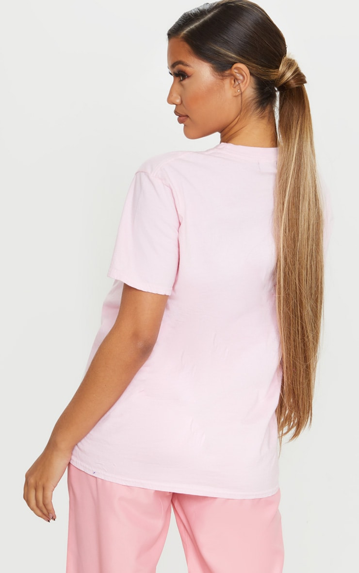 PRETTYLITTLETHING Pink Embroidered Wash T Shirt 2