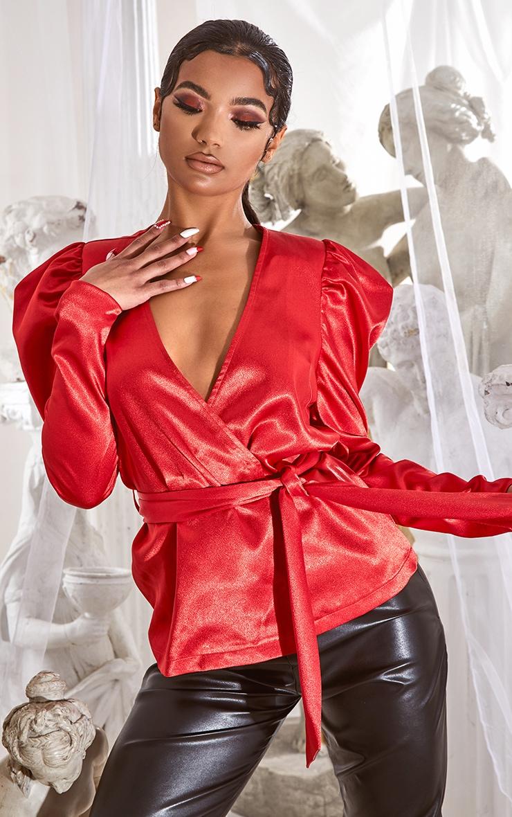 Red Satin Puff Sleeve Wrap Blazer 1