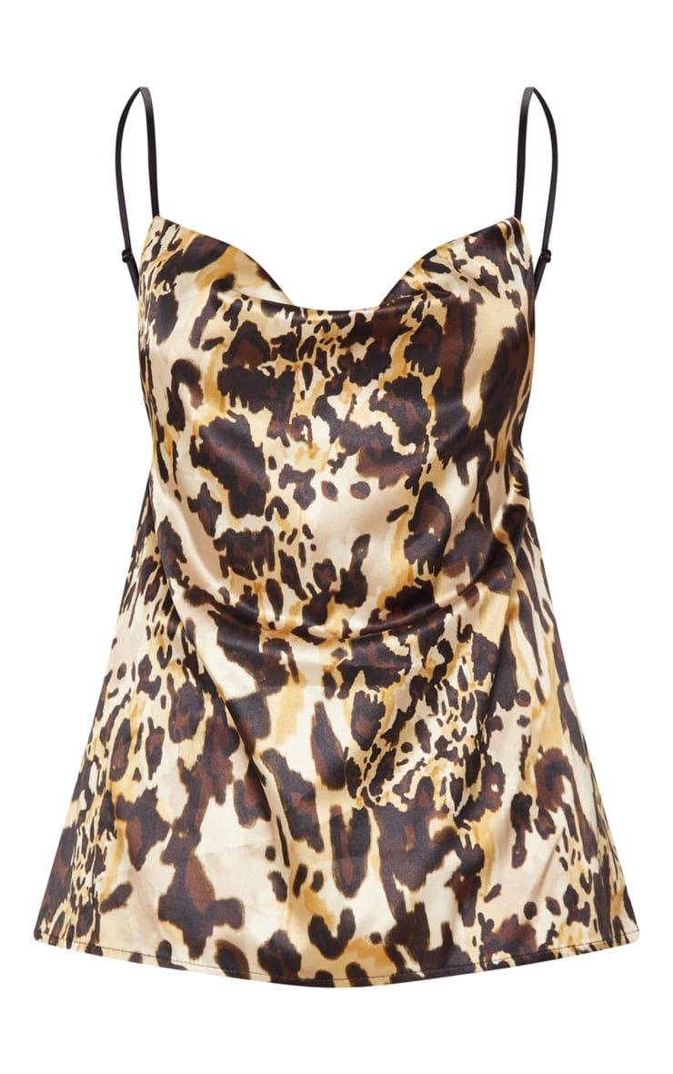 Leopard Tan Satin Cowl Neck Cami 3