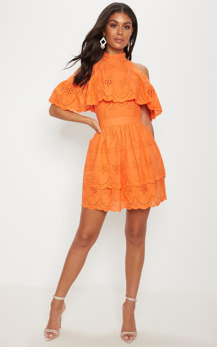 Bright Orange Broderie Anglaise Cold Shoulder Skater Dress 4
