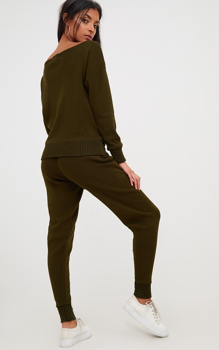 Khaki Jogger Jumper Knitted Lounge Set 2