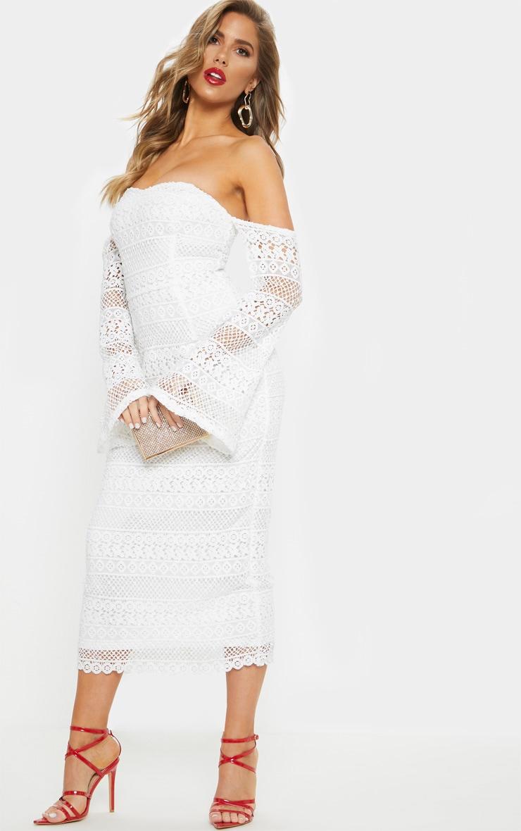 White Lace Bardot Bell Sleeve Midi Dress 4