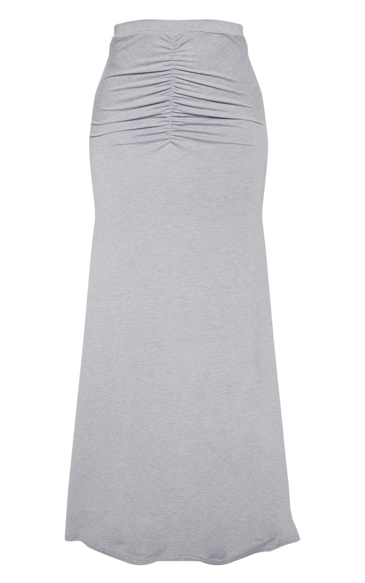 Grey Ruched Detail Maxi Skirt  3