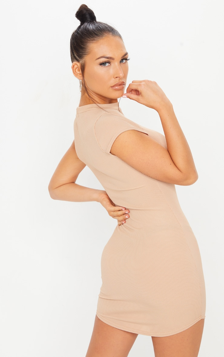 Stone Ribbed High Neck Bodycon Dress 2