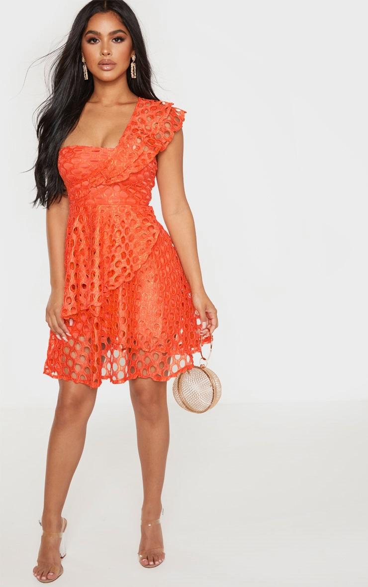 Petite Orange Lace One Shoulder Tiered Skater Dress 4