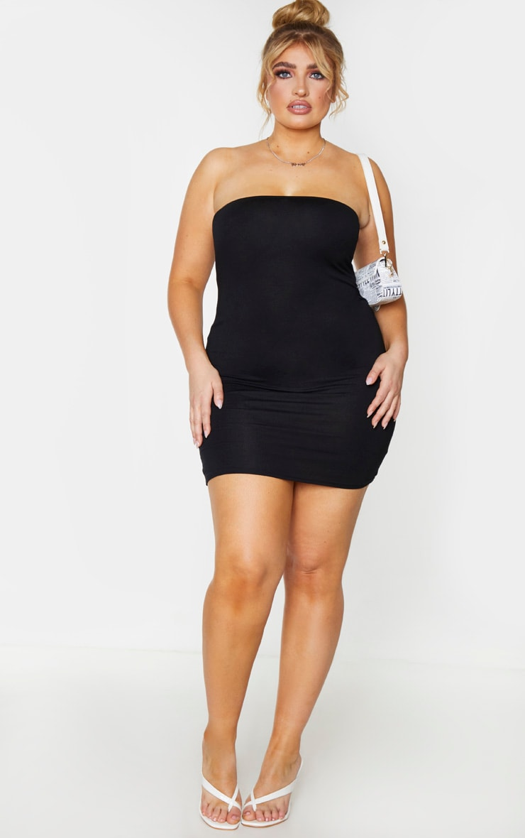 Plus Black Jersey Bandeau Bodycon Dress 3