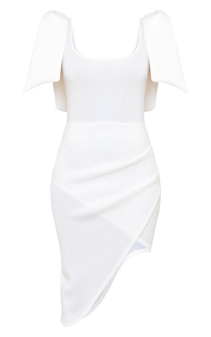 White Bonded Scuba Bow Shoulder Ruched Midi Dress 5