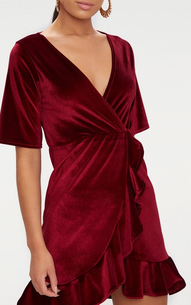Burgundy Velvet Wrap Frill Detail Bodycon Dress 5