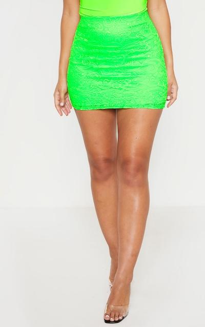 Neon Green Lace Panelled Mini Skirt
