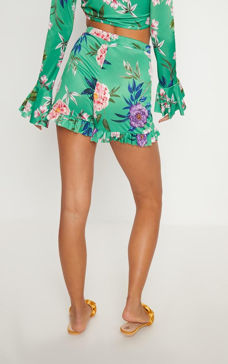 Green Slinky Floral Frill Hem Shorts  4