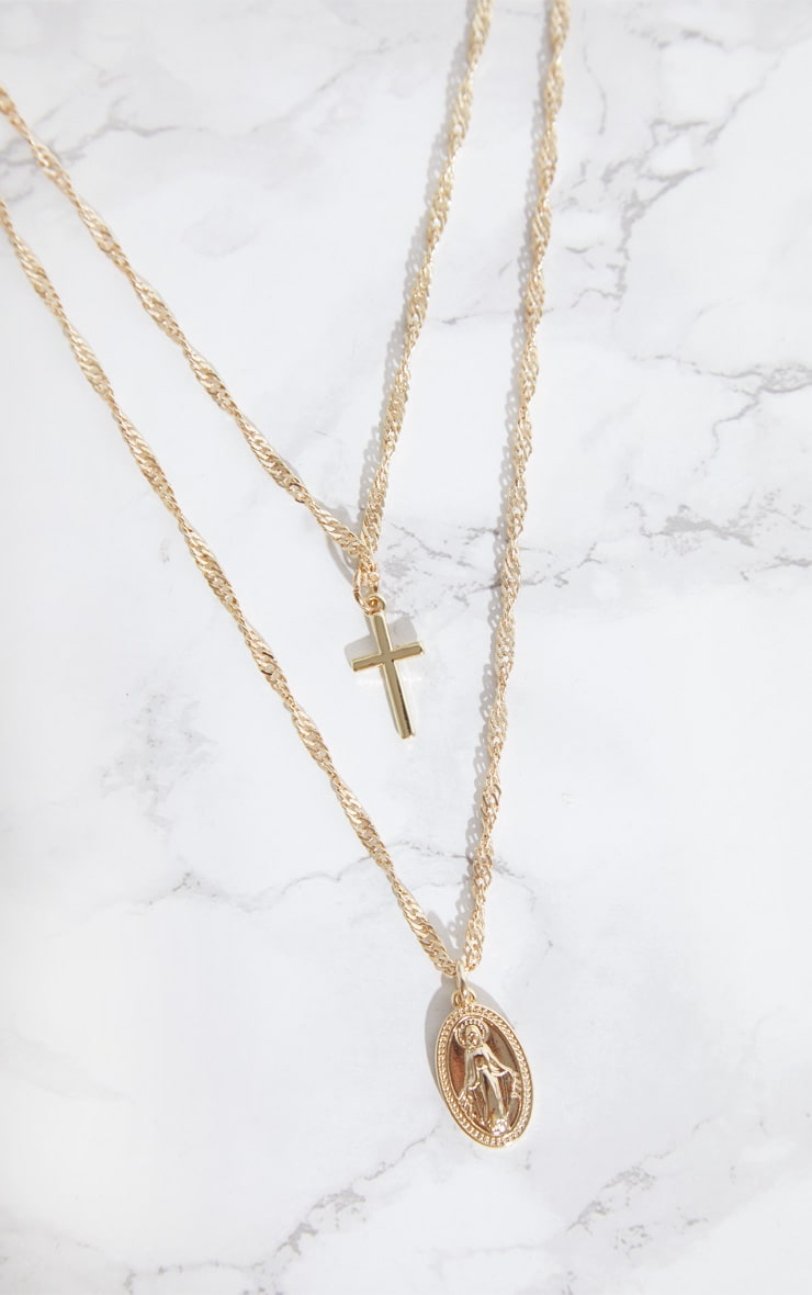Gold Plated 18ct Renaissance Double Layer Cross and Pendant Necklace 3