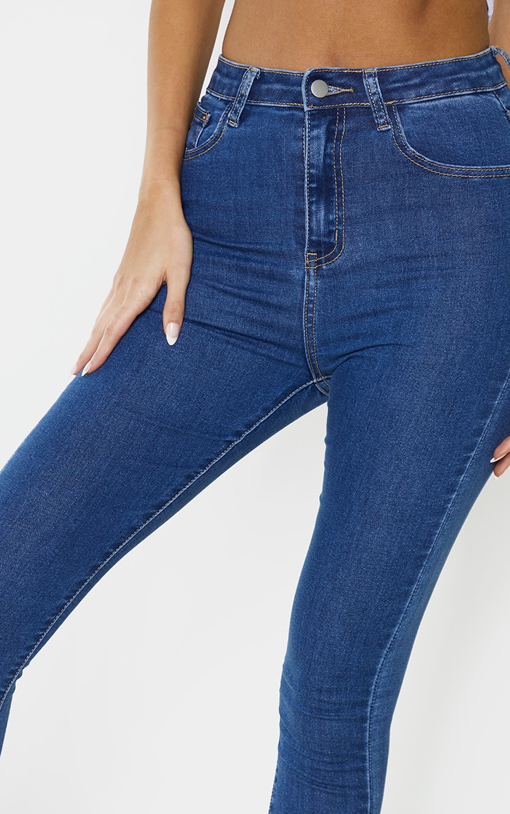 PRETTYLITTLETHING Tall  Mid Blue 5 Pocket Skinny Jean 3