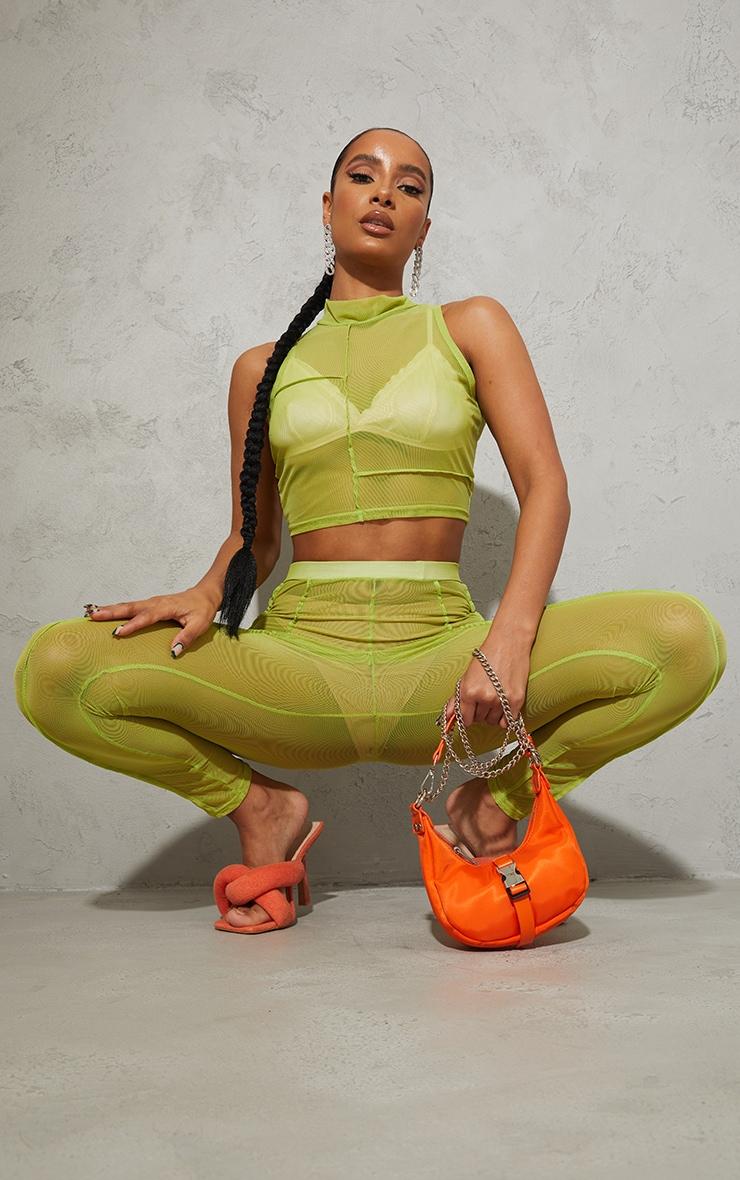 Lime Green Sheer Mesh Overlock High Neck Sleeveless Crop Top image 3