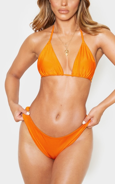 Petite Orange Mix & Match Brazilian Thong Bikini Bottom