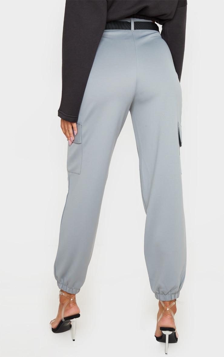 Grey Belted Scuba Cargo Trousers 5