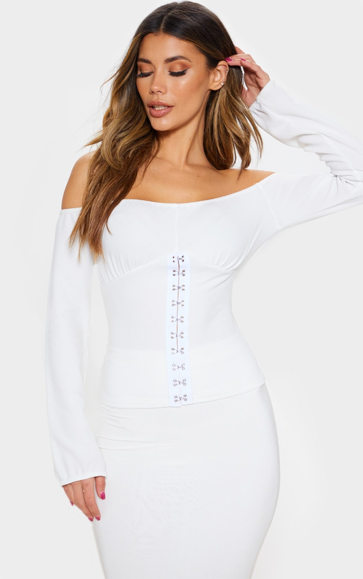 White Long Sleeve Bardot Hook And Eye Top