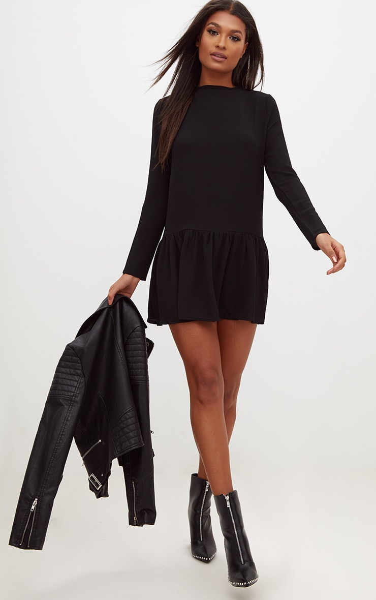 Black Long Sleeve Frill Hem Shift Dress 4