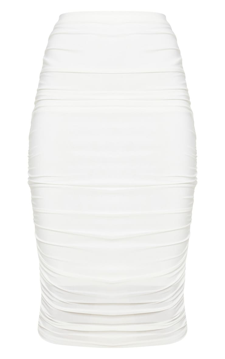 White Slinky Second Skin Ruched Midi Skirt 5