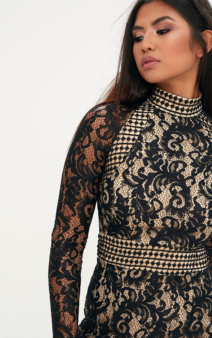 Black Lace High Neck Bodycon Dress  4