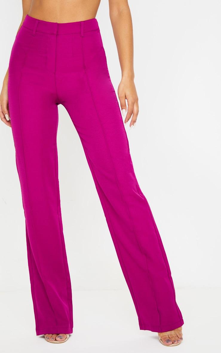 Fuchsia Anala High Waisted Straight Leg Trouser 2