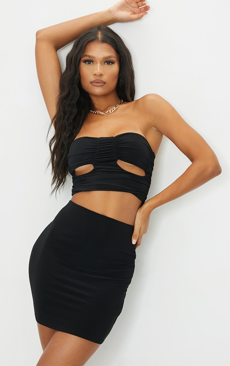 Black Slinky Cut Out Cup Detail Bandeau Top 1