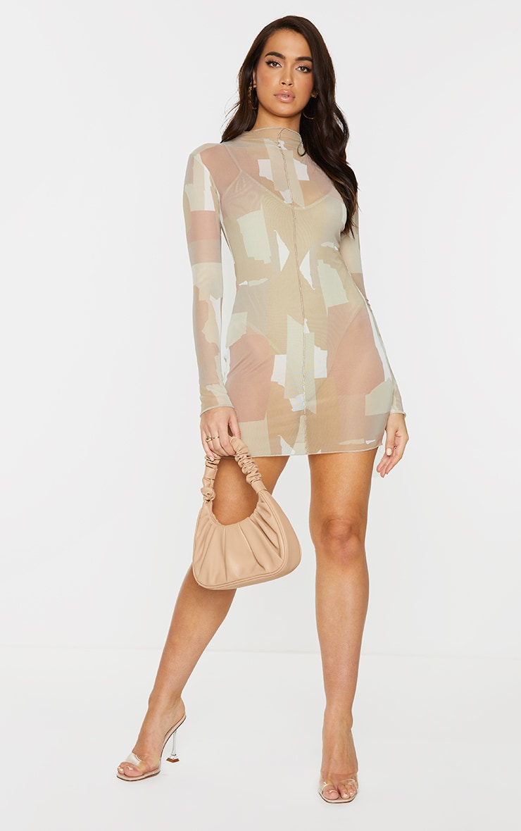 Nude Abstract Print Mesh Long Sleeve Stitch Detail Bodycon Dress 3