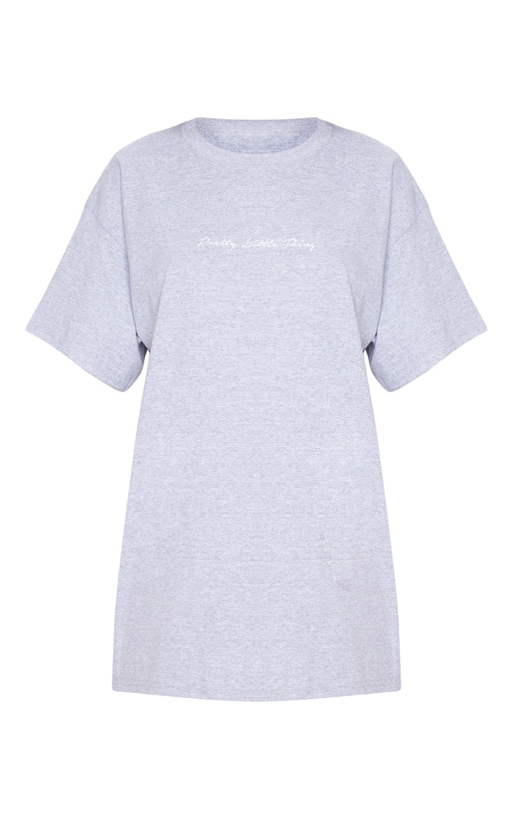 PRETTYLITTLETHING Slogan Grey Oversized T Shirt 5