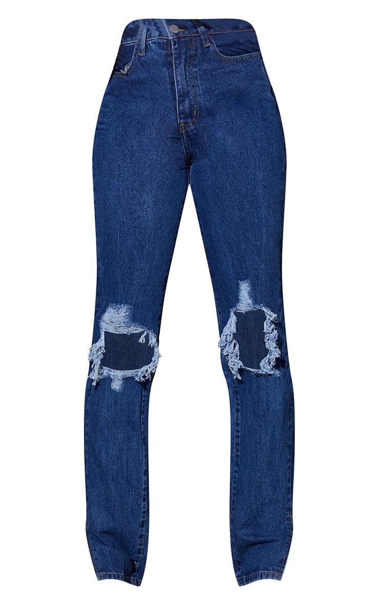 Tall Mid Wash Distressed Knee Split Hem Denim Jeans 5