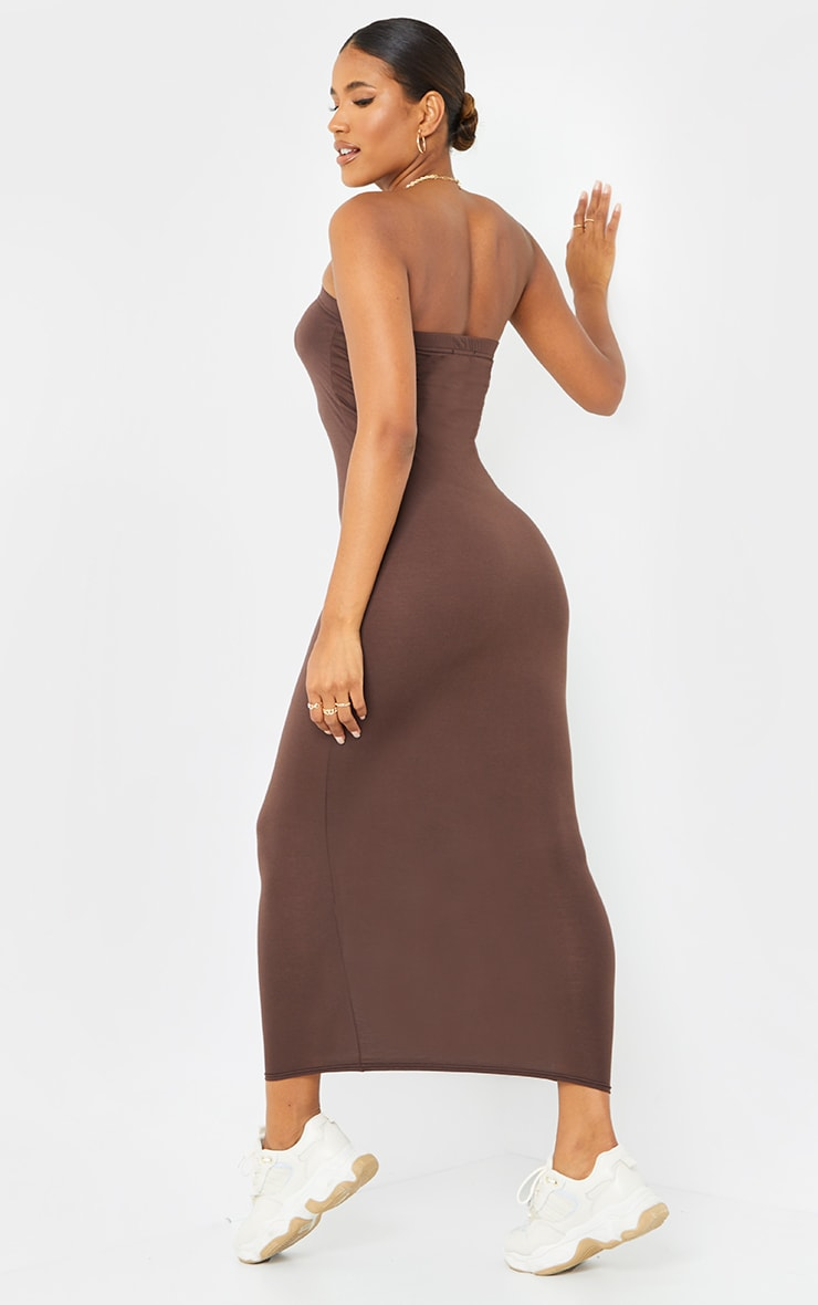 Robe longue bandeau marron chocolat 2