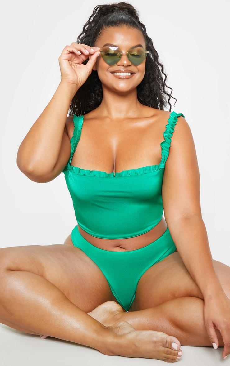 Plus Bright Green Frill Strap Ruched Detail Bikini Top  4