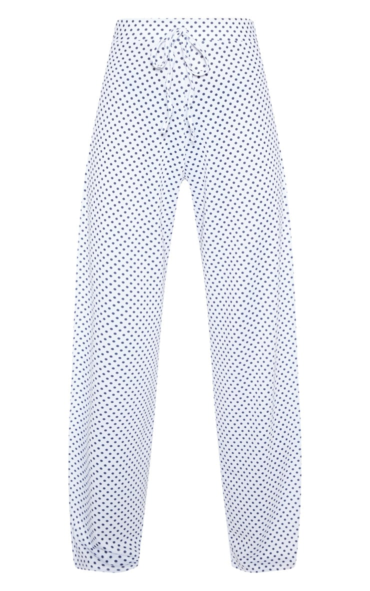 White Polka Dot Extreme Split Wide Leg Trouser 4