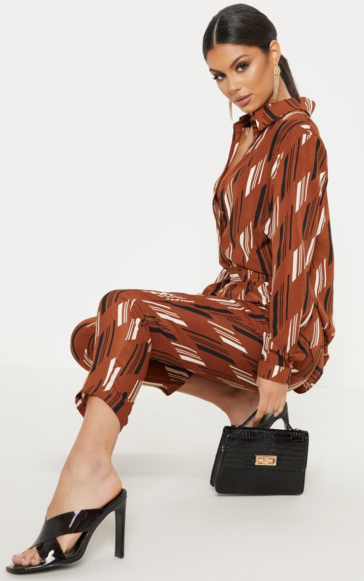 Brown Printed Oversized Shirt 4