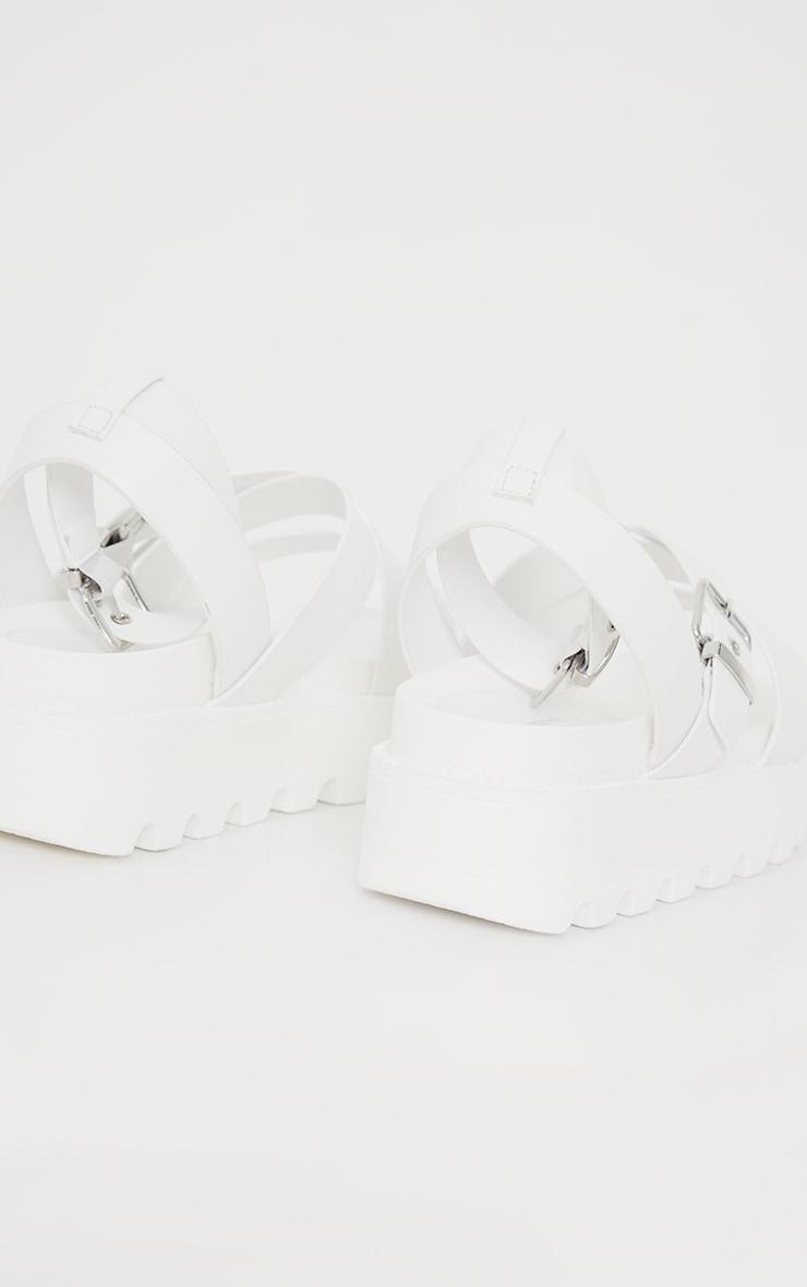 White Cleated Flatform Gladiator Sandals 4