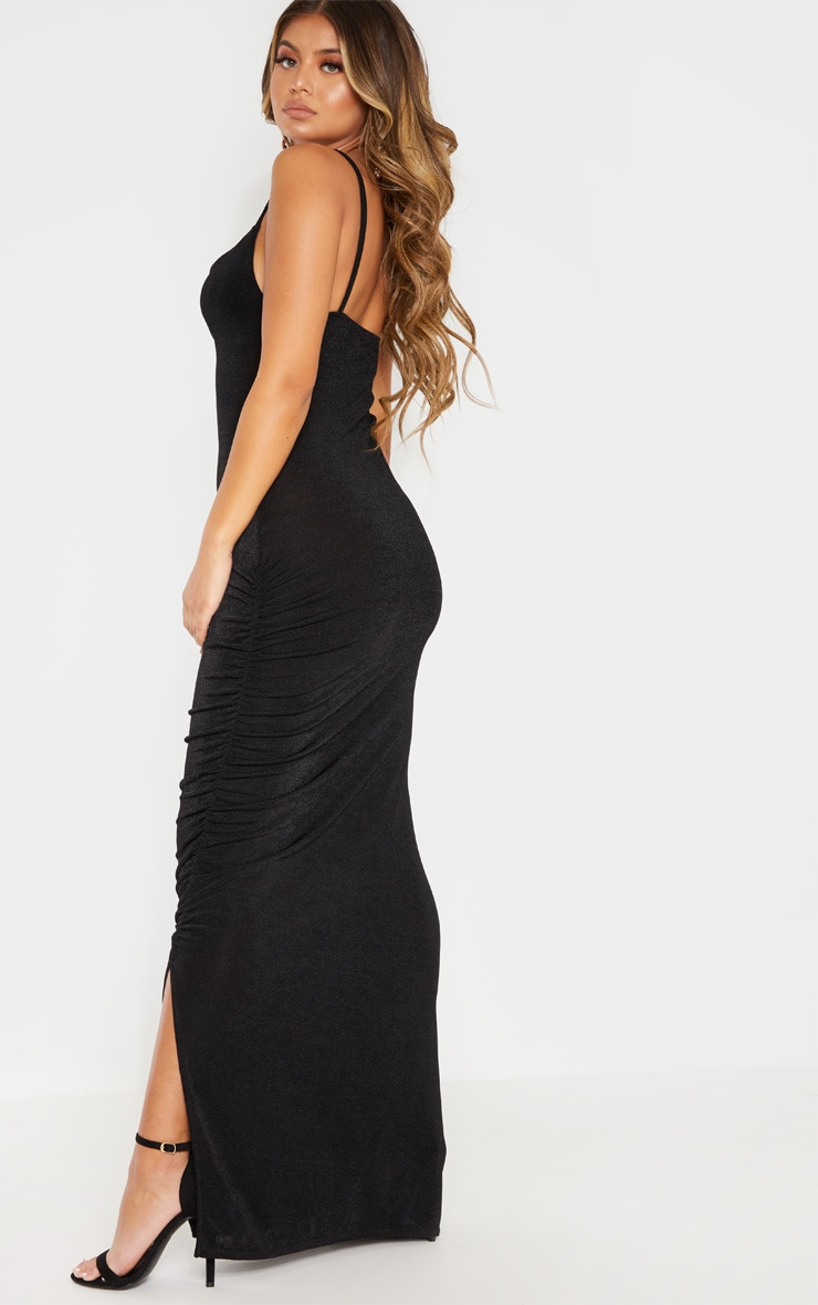Black Textured Slinky Ruched Maxi Dress 2