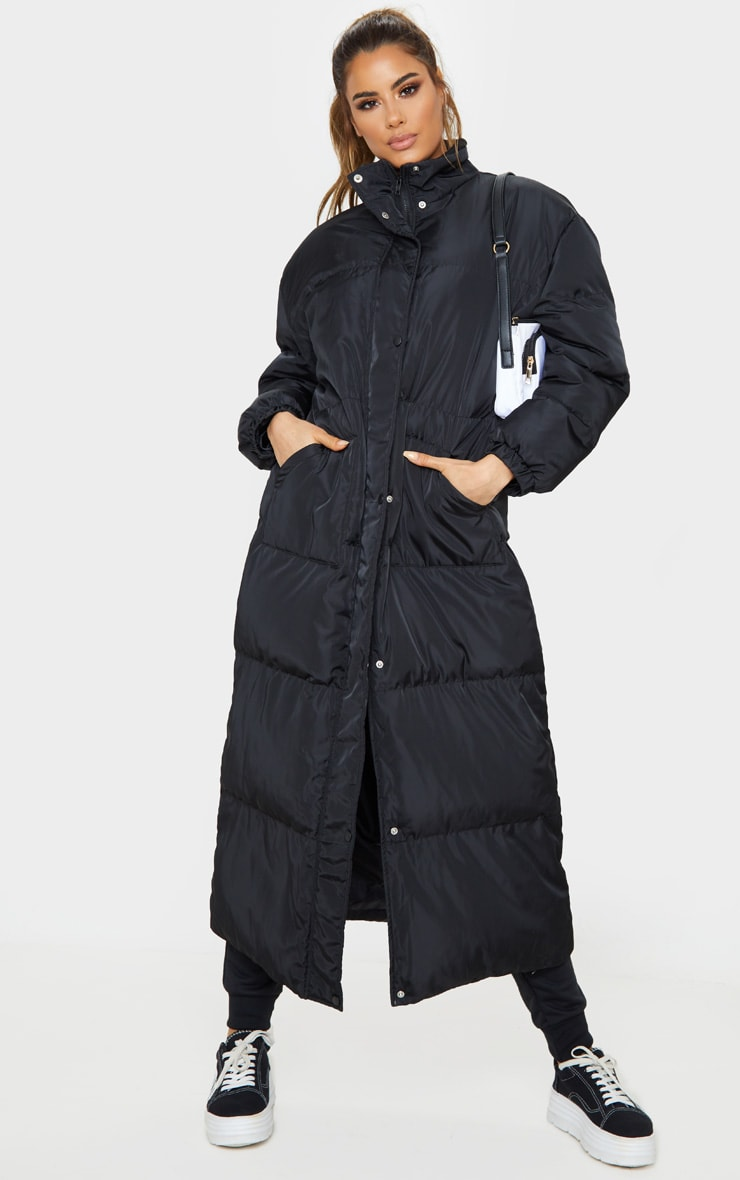 Tall Black Longline Puffer Coat 1