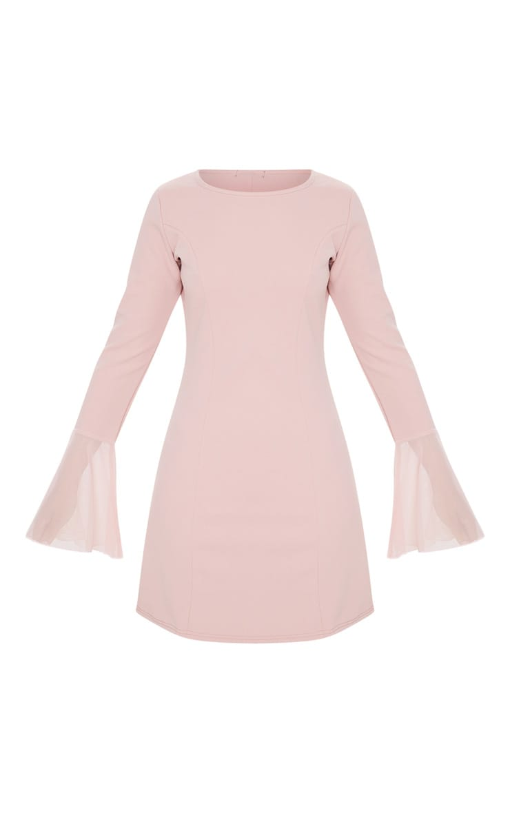 Dusty Rose Frill Sleeve Detail Shift Dress 3