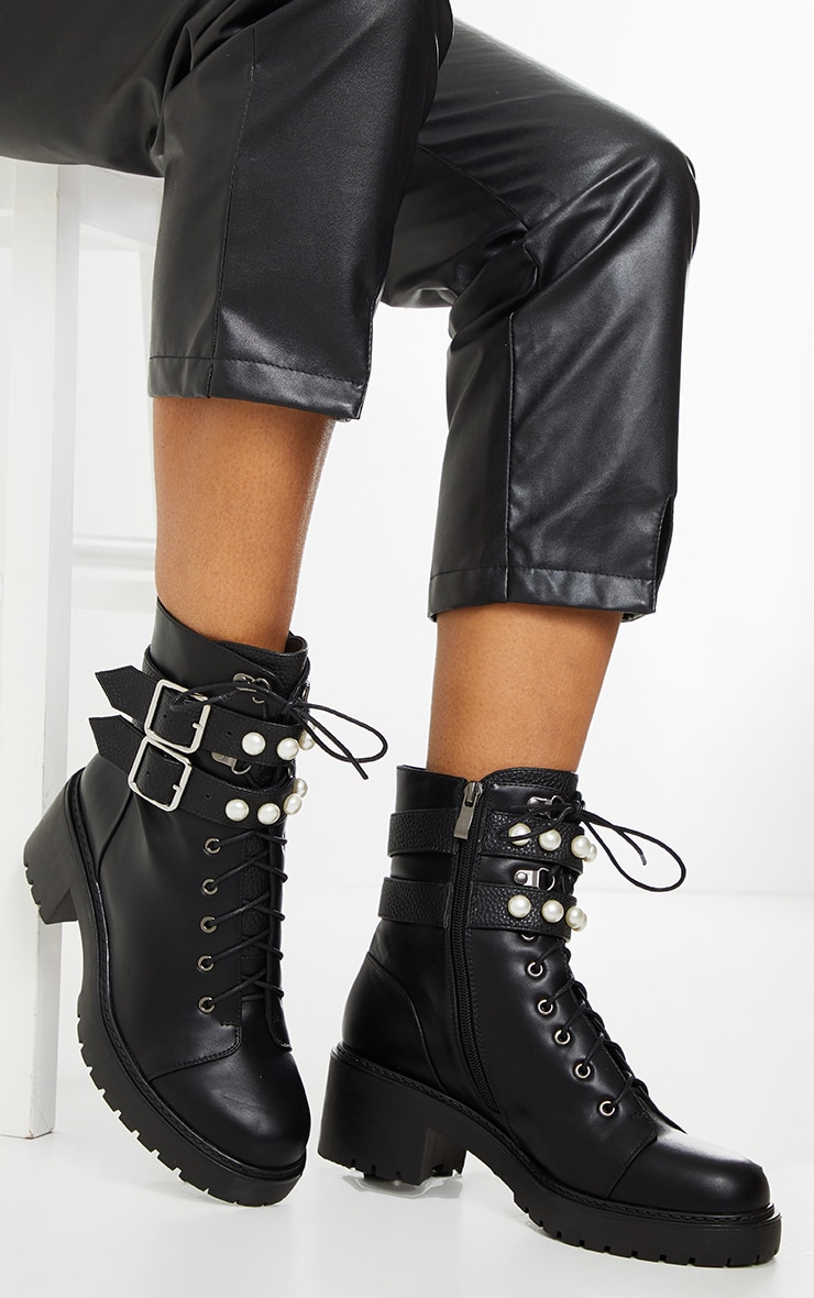 Black PU Pearl Trim Double Strap Biker Boot 1