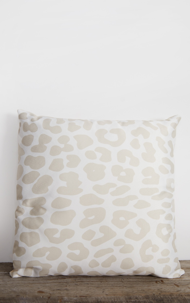 Cream Satin Leopard Print Filled Cushion 3